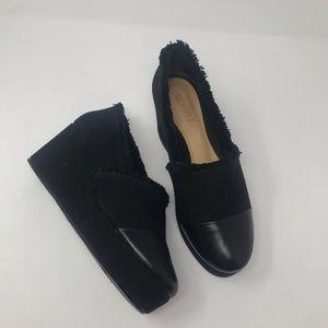 Schutz Wedges Pumps Size 39 Black Textile Leather